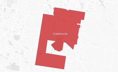 Map of the Cranbourne area